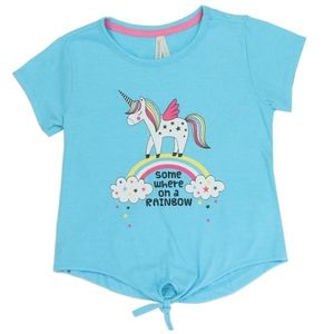 ✨Girl's Sky Blue Unicorn Rainbow Front Tie T-shirt